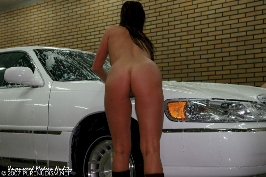 Naked Carwash, Nudist Girl Washes Car