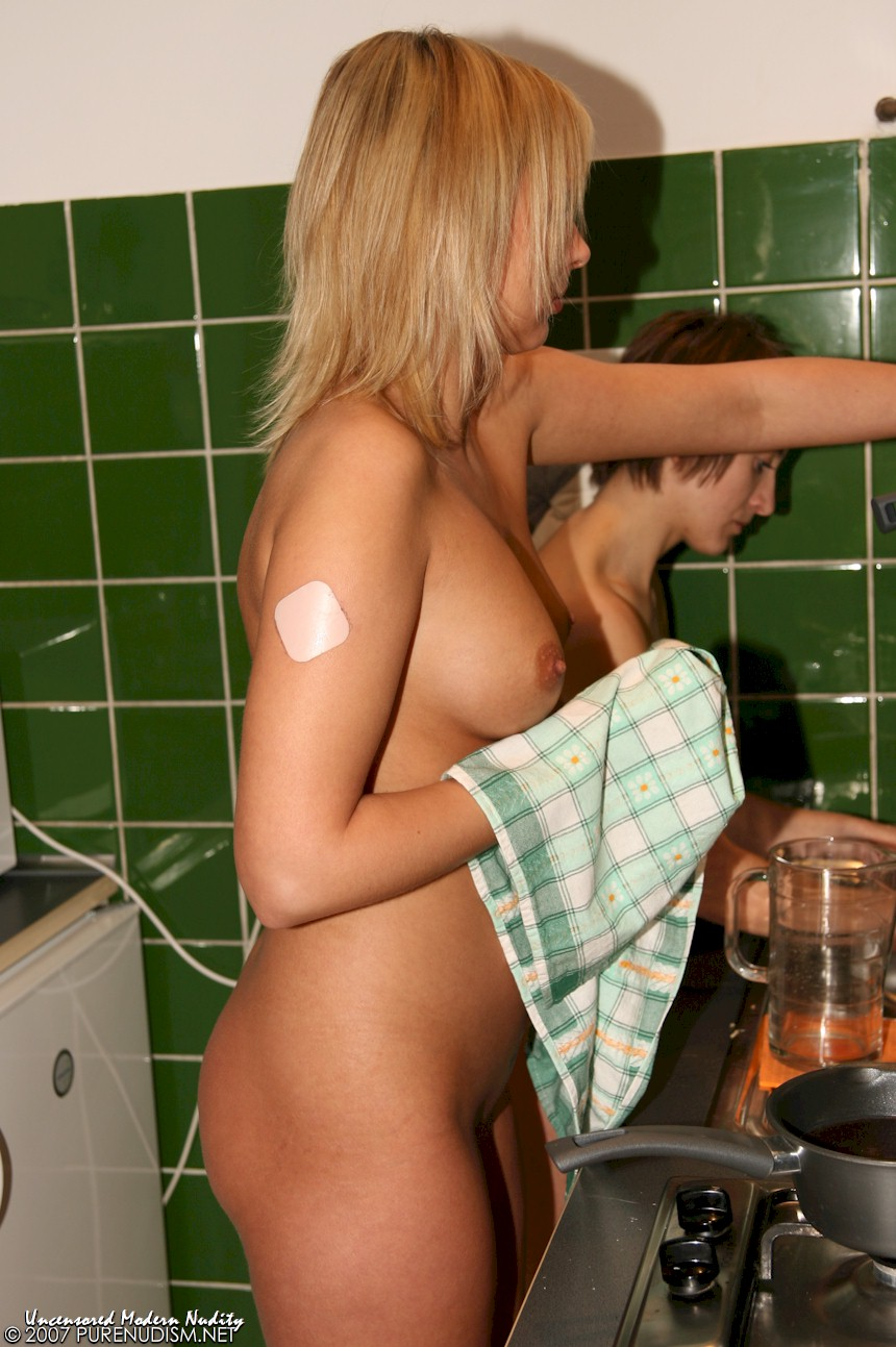 Nude Girls Cooking for an Indoor Family Girl Party