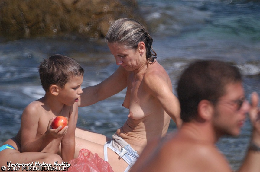 mother and son nudism